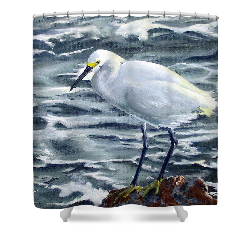 Egret Shower Curtain featuring the painting Snowy Egret On Jetty Rock by Adam Johnson