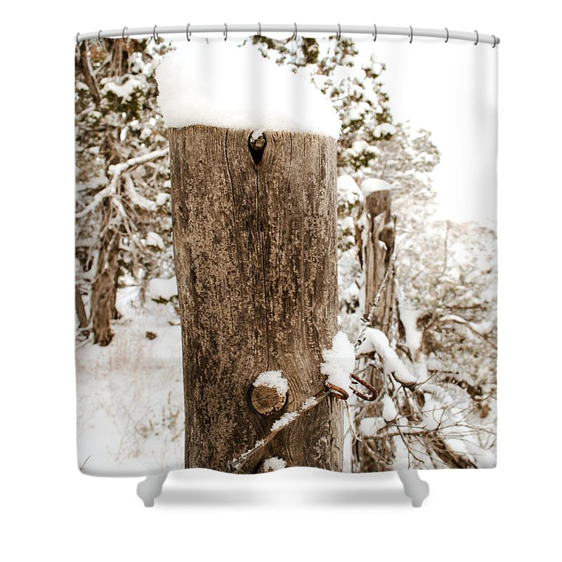 Snow Shower Curtain featuring the photograph Snowy Fence Post by Julie Gropp