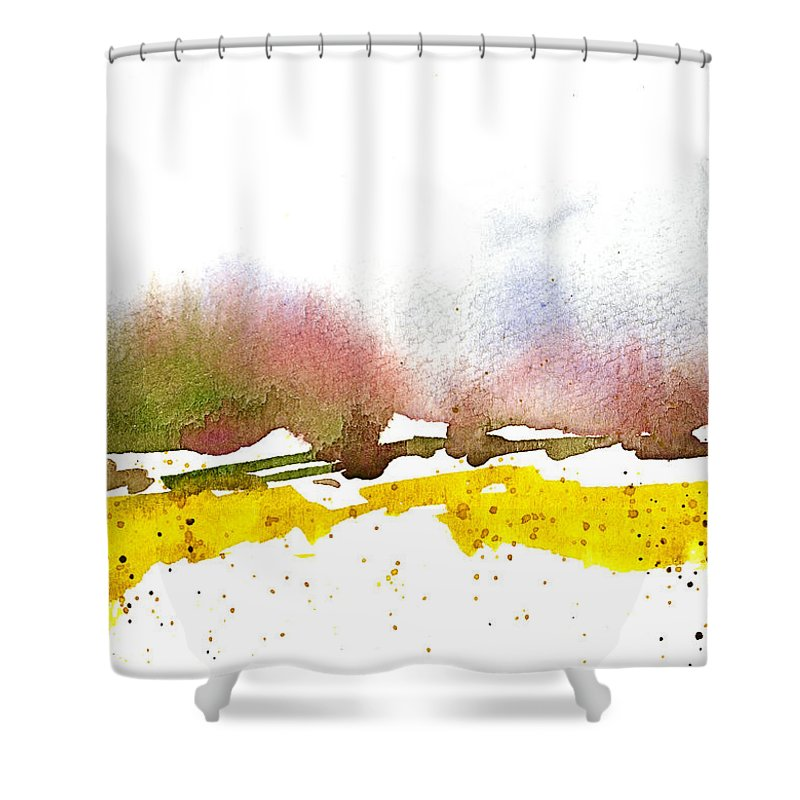 Snow Shower Curtain featuring the painting Snowy Field by Tonya Doughty
