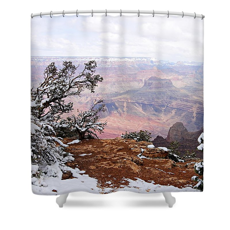 Grand Canyon National Park Shower Curtain featuring the photograph Snowy Frame - Grand Canyon by Larry Ricker
