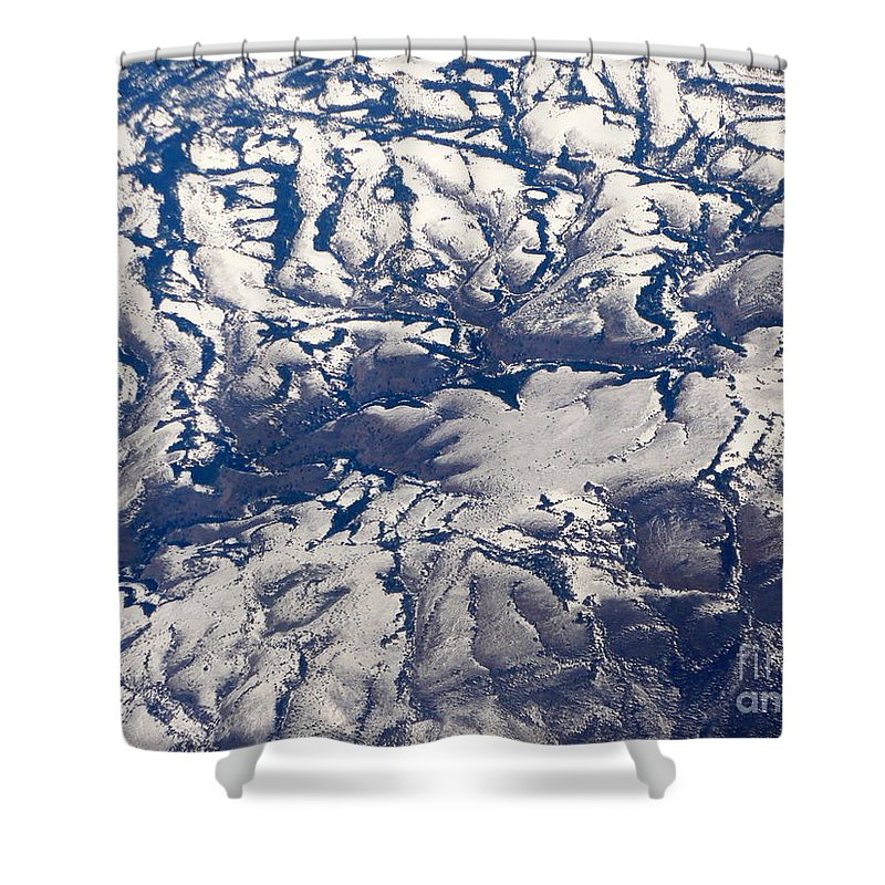 Aerial Shower Curtain featuring the photograph Snowy Landscape Aerial by Carol Groenen
