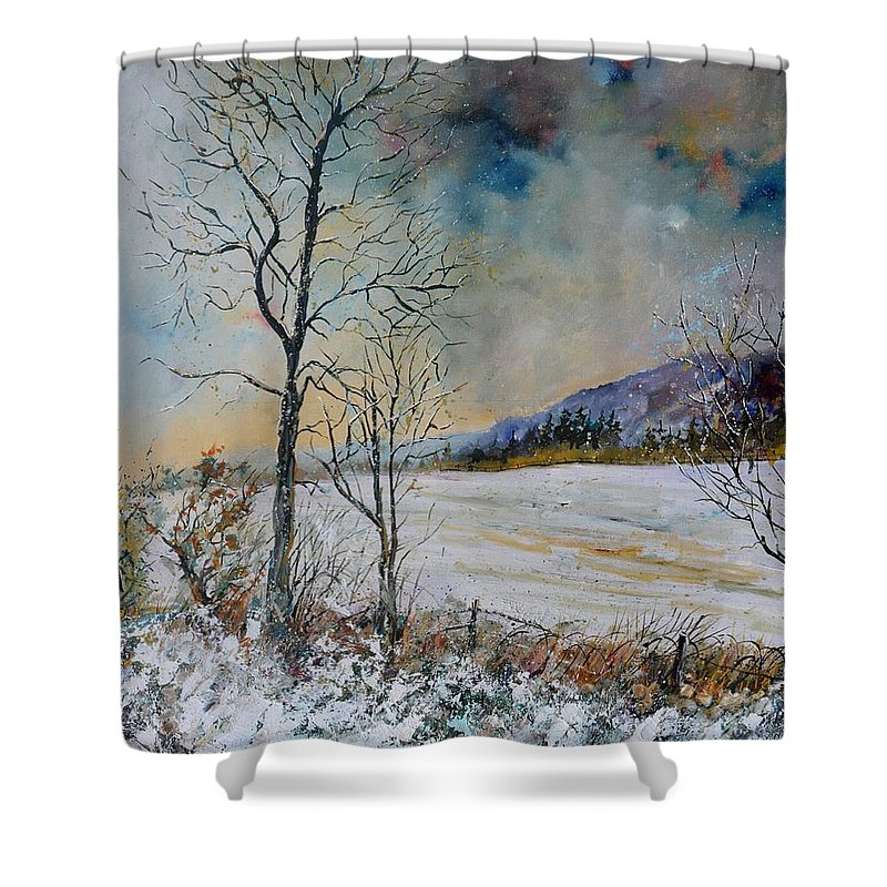 Landscape Shower Curtain featuring the painting Snowy landscape by Pol Ledent
