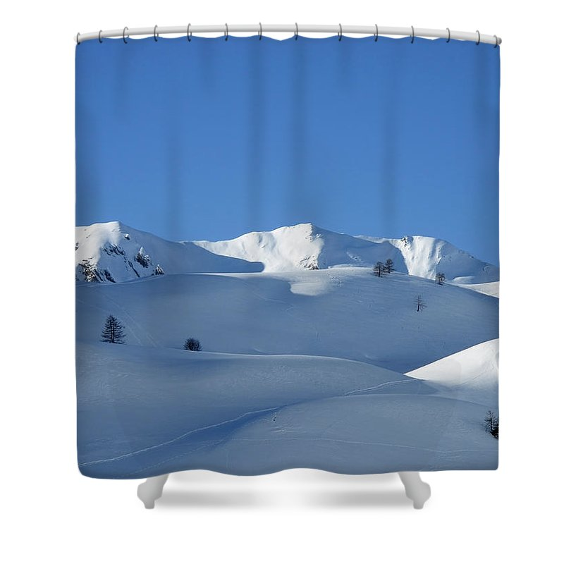 Bersezio Shower Curtain featuring the photograph Snowy Mountains by Stefania Levi