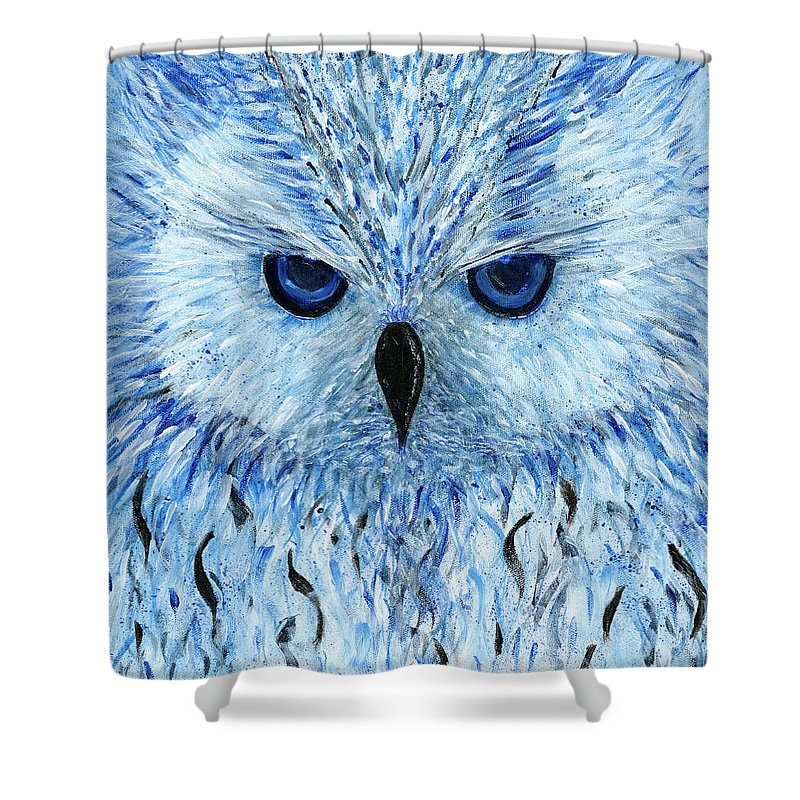 Blue Black And White Owl Shower Curtain featuring the painting Snowy Owl by Koni Webb Bosch