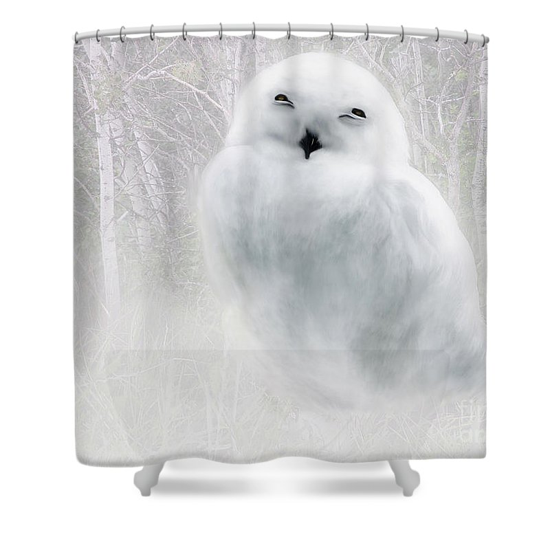 Bird Shower Curtain featuring the painting Snowy Owlet by Elaine Manley