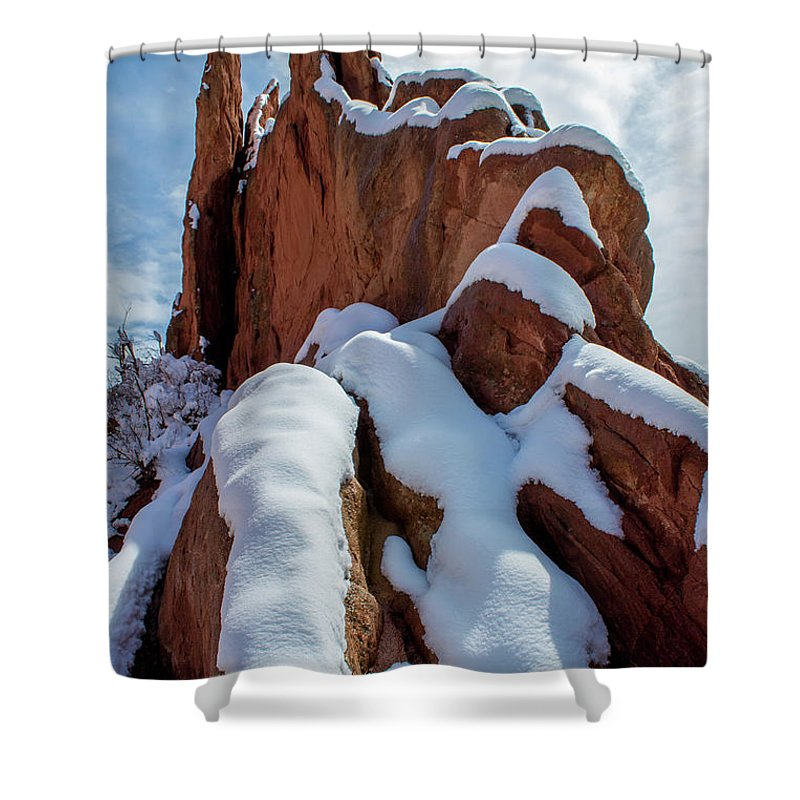 Rock Shower Curtain featuring the photograph Snowy Ridge by Roy Hall