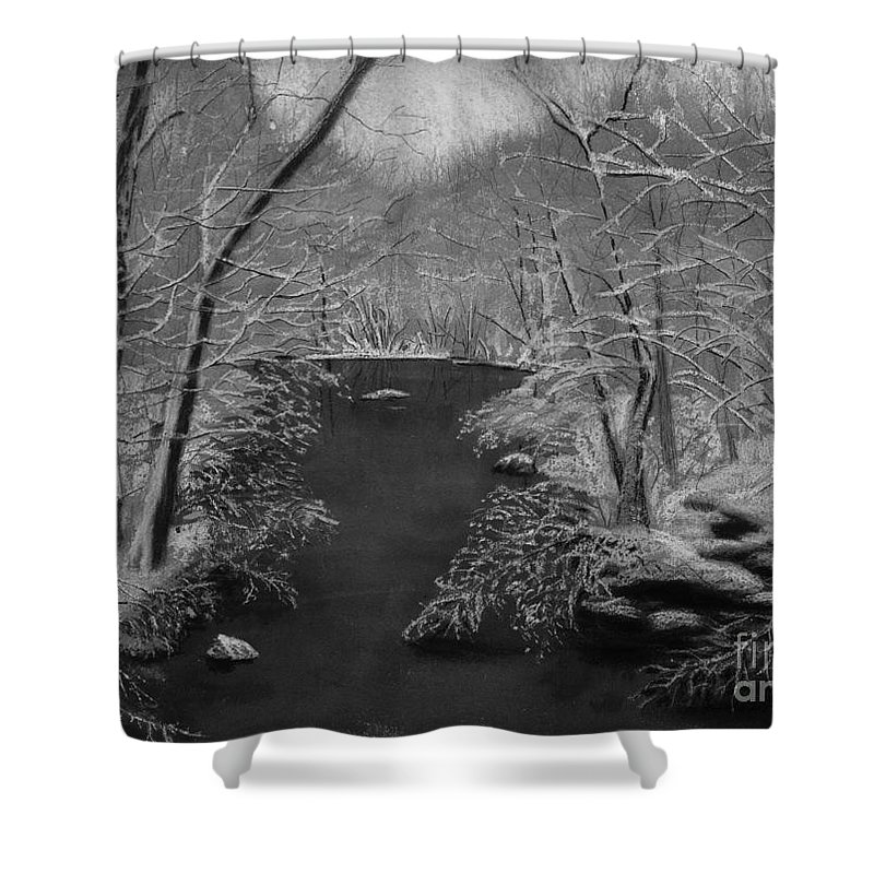 Black And White Shower Curtain featuring the painting Snowy River by Lynn Quinn