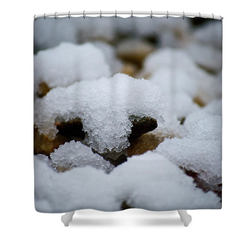 Snow Shower Curtain featuring the photograph Snowy Stones by Lisa Knechtel