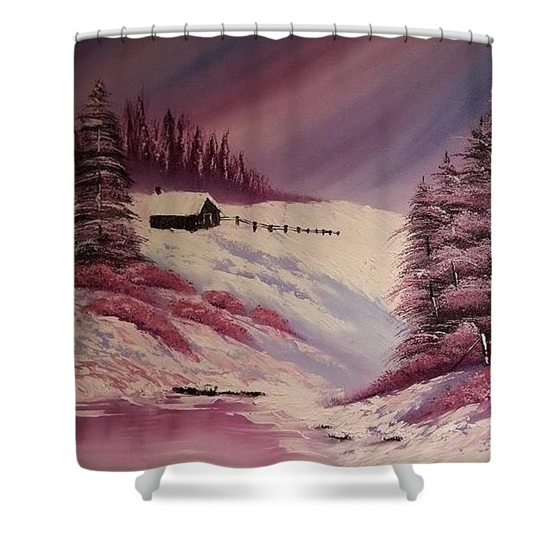 Landscape Shower Curtain featuring the painting Snowy Summer by Nadine Westerveld