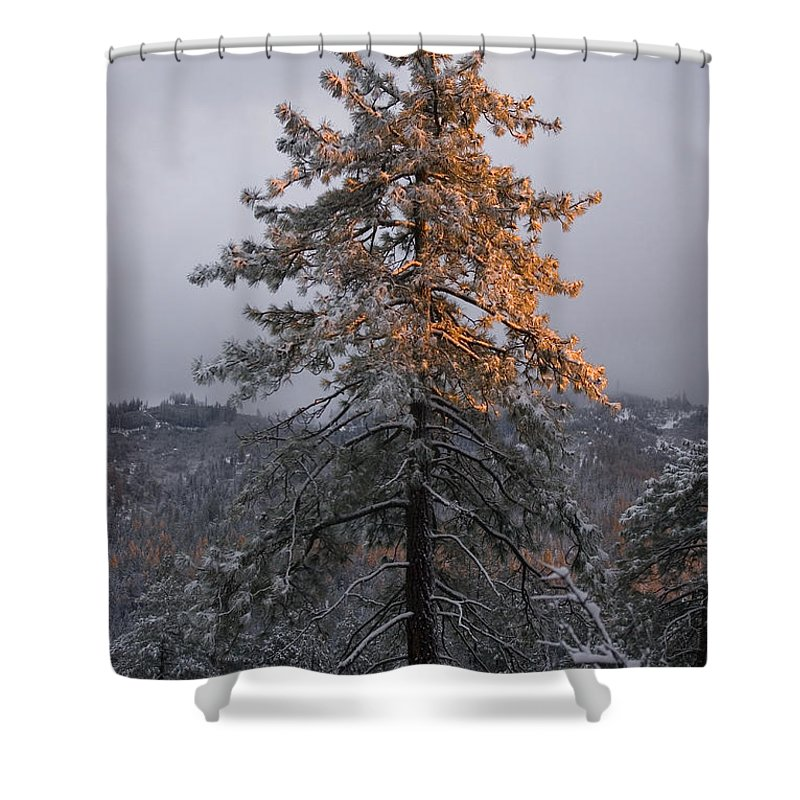 Christmas Shower Curtain featuring the photograph Snowy Sunset by Jim And Emily Bush