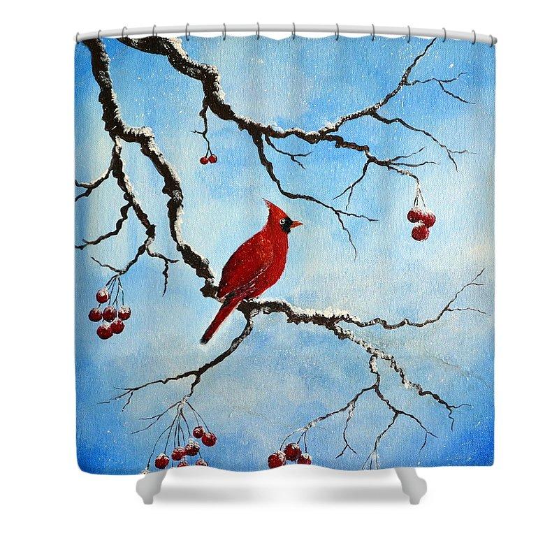 Snowy Wonder Shower Curtain featuring the painting Snowy Wonder by Deepa Sahoo