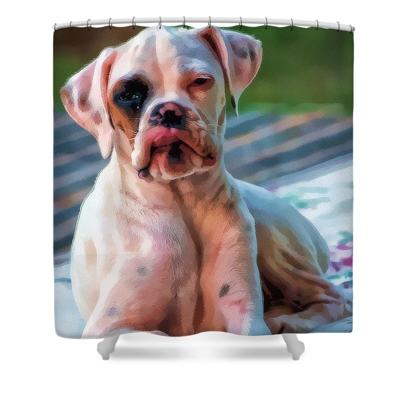 Dog Shower Curtain featuring the digital art So Proud by Kathy Tarochione