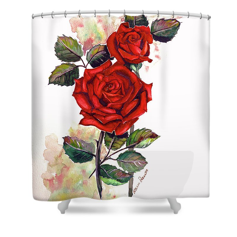 Red Rose Paintings Shower Curtain featuring the painting So Red by Karin Dawn Kelshall- Best