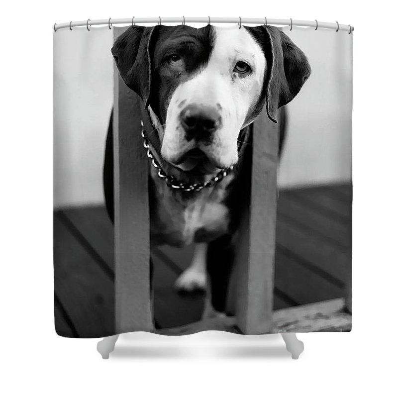 Black And White Shower Curtain featuring the photograph So Sad by Peter Piatt
