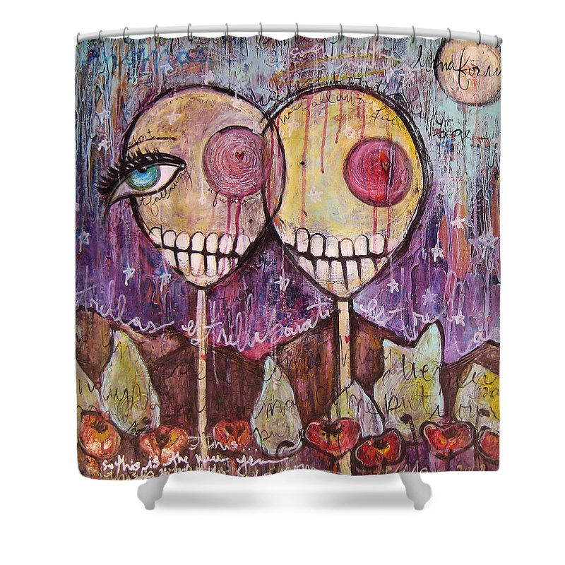 Skulls Shower Curtain featuring the painting So This Is The New Year Estrellas And All by Laurie Maves ART