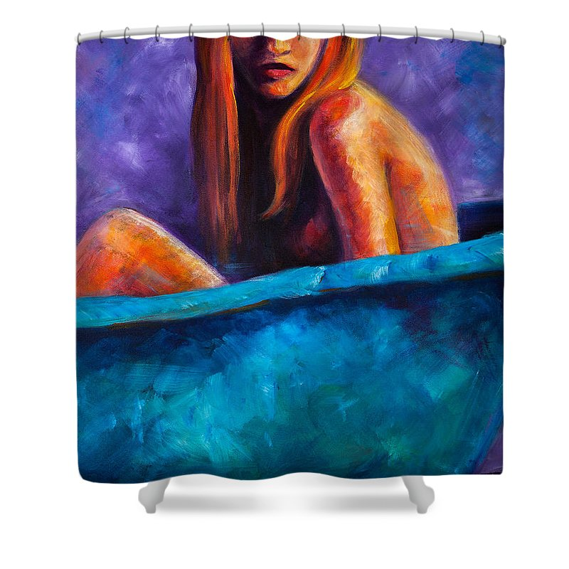 Nude Shower Curtain featuring the painting Soak by Jason Reinhardt