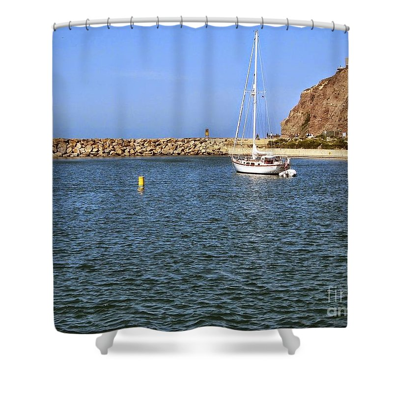Sail Boat Shower Curtain featuring the photograph Soaking Up The Sun by Heather Gaines