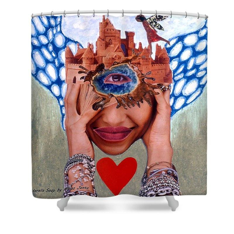 Sandcastle Shower Curtain featuring the drawing Soap Scene # 12 Sandcastle Shrine by Minaz Jantz