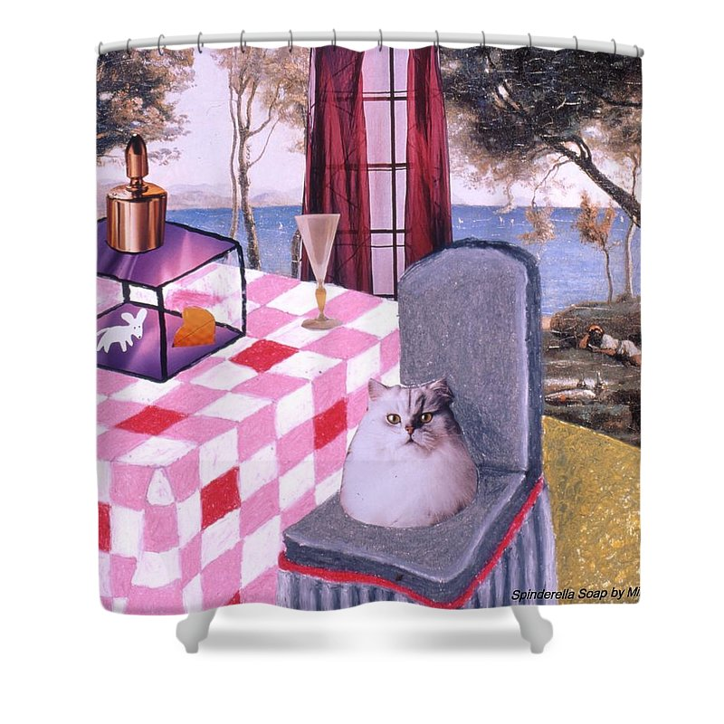Cat Shower Curtain featuring the drawing Soap Scene #14 Mouse In A Cage by Minaz Jantz