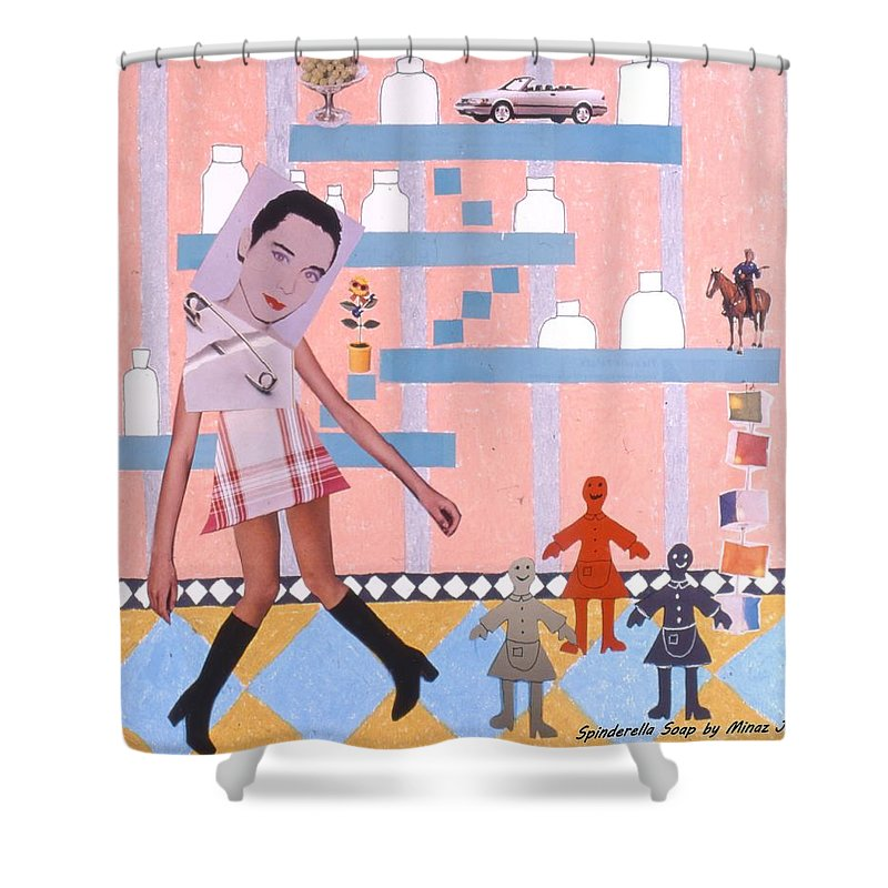 Cowboy Shower Curtain featuring the drawing Soap Scene #16 Miracle Maids by Minaz Jantz