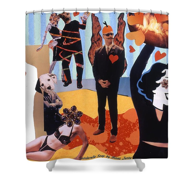 Hearts Shower Curtain featuring the drawing Soap Scene #18 Burn In Heaven At The Club Relish by Minaz Jantz