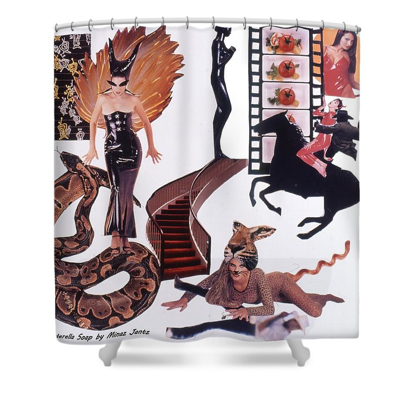 Boa Shower Curtain featuring the drawing Soap Scene #22 Lust In The Wind by Minaz Jantz