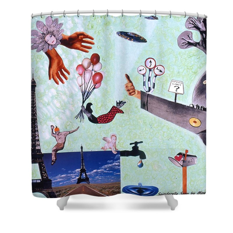Eiffel Tower Shower Curtain featuring the drawing Soap Scene #27 Zelestial Headquarters by Minaz Jantz