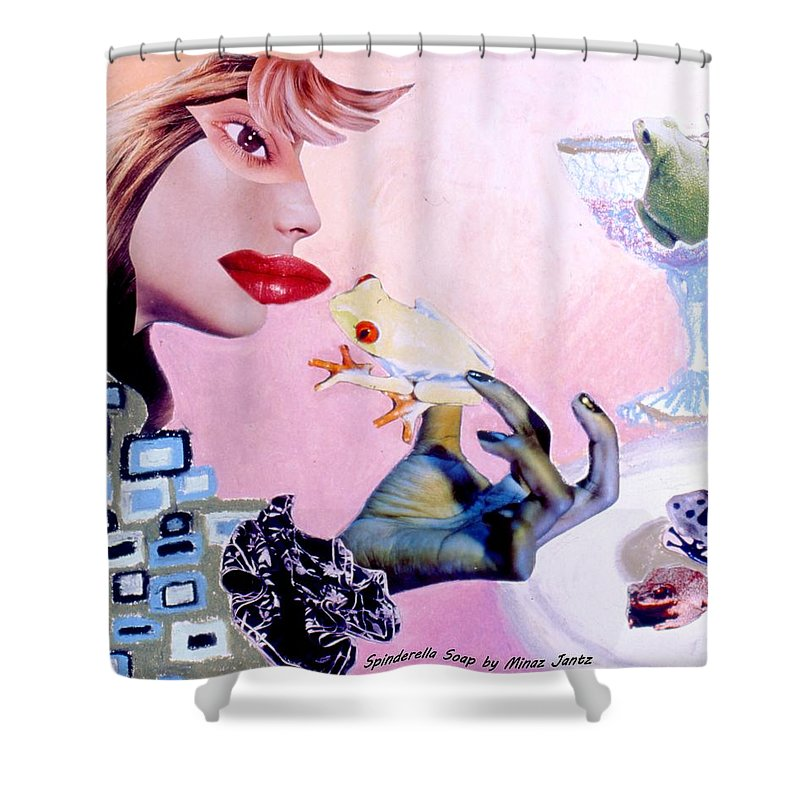 Frogs Shower Curtain featuring the drawing Soap Scene #6 Frogs Legs For Dinner by Minaz Jantz