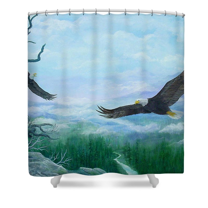 Eagles;birds;river Valley;mountains;sky; Shower Curtain featuring the painting Soaring by Lois Mountz
