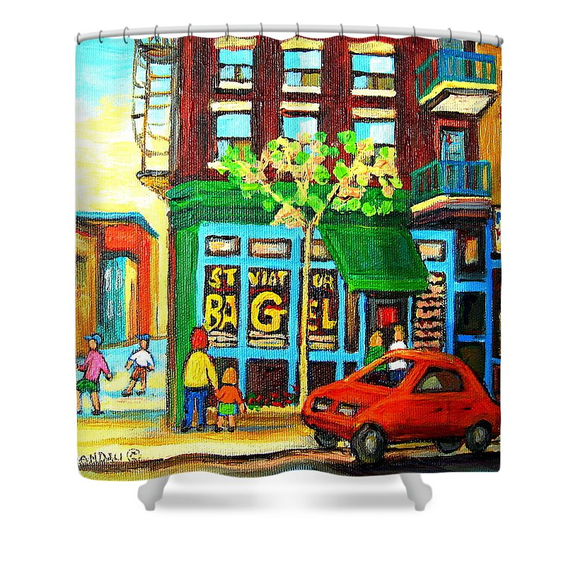 St Viateur Bagel Shop Montreal Street Scenes Shower Curtain featuring the painting Soccer Game At The Bagel Shop by Carole Spandau