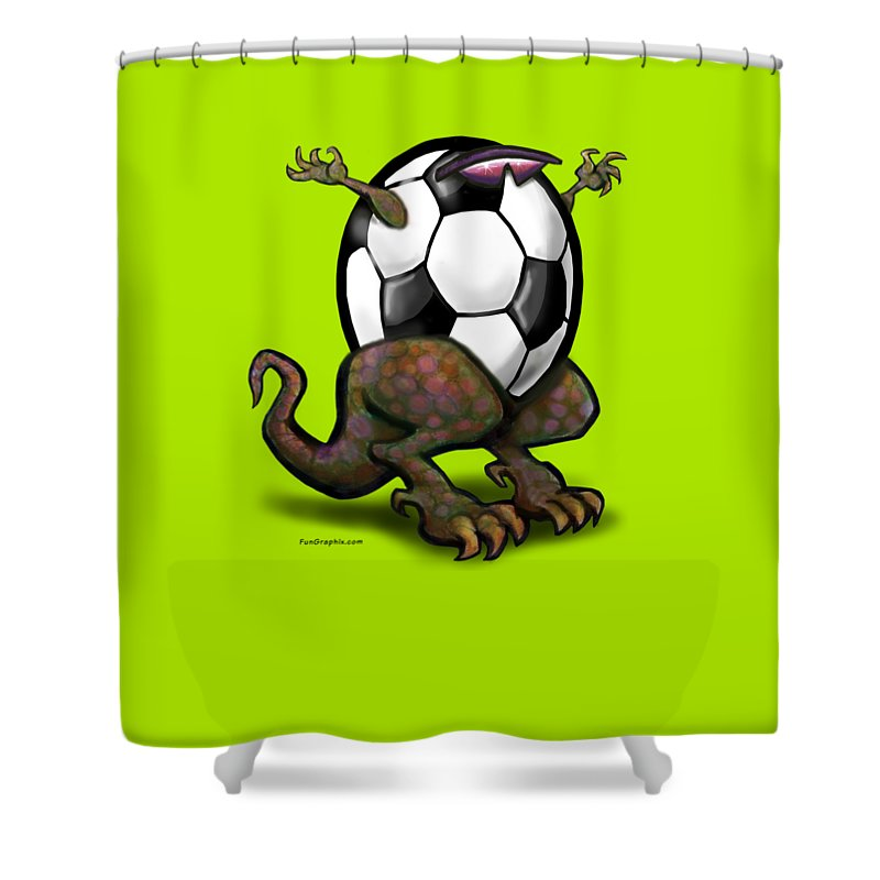 Soccer Shower Curtain featuring the digital art Soccer Saurus Rex by Kevin Middleton