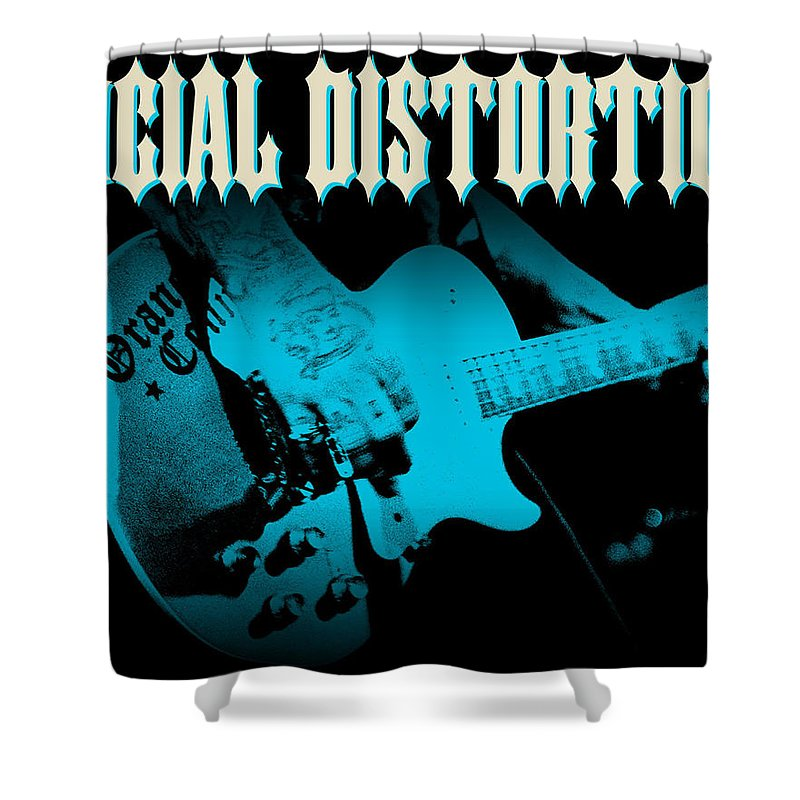 Social Distortion Shower Curtain featuring the digital art Social Distortion by Mery Moon