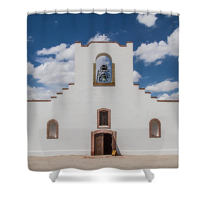 Socorro Mission Shower Curtain featuring the photograph Socorro Mission by Robert J Caputo