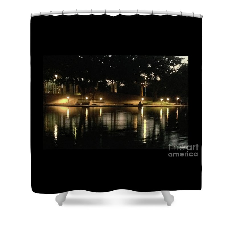 Night In The City Shower Curtain featuring the photograph Soft Evening At Palmer Pond Poster Black Border No Text by Felipe Adan Lerma