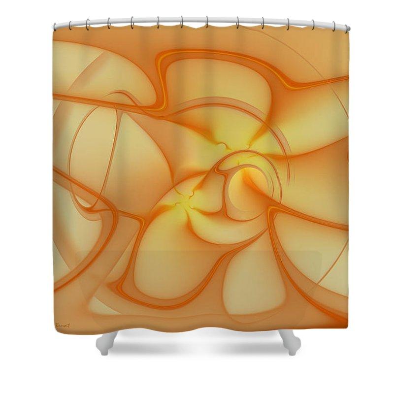 Fracta Shower Curtain featuring the mixed media Soft Golden Flow by Deborah Benoit