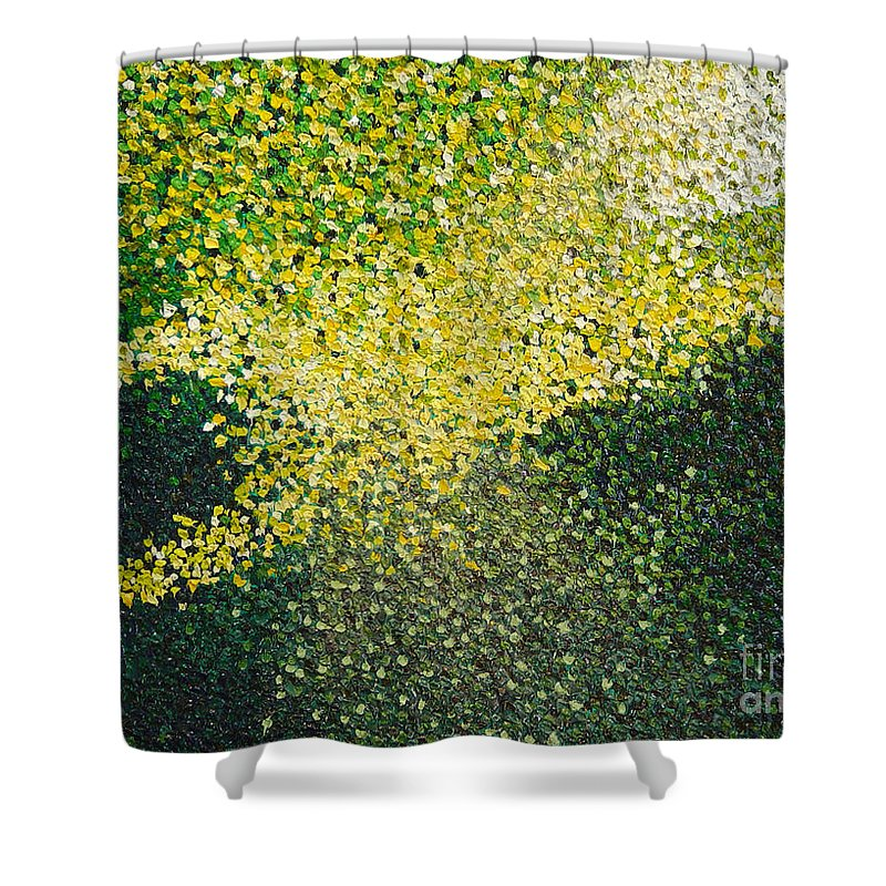 Abstract Shower Curtain featuring the painting Soft Green Light by Dean Triolo