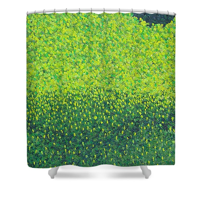 Abstract Shower Curtain featuring the painting Soft Green Wet Trees by Dean Triolo