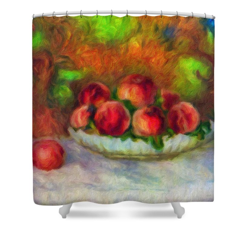 Soft Peaches Still Life Shower Curtain featuring the painting Soft Peaches Still Life by Georgiana Romanovna
