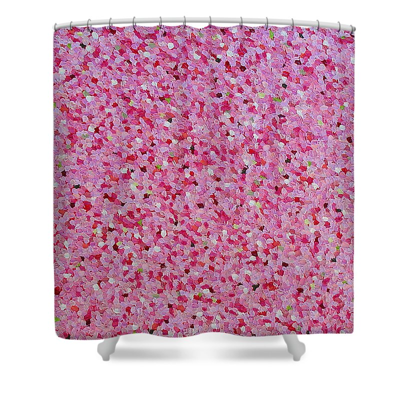 Abstract Shower Curtain featuring the painting Soft Red Light by Dean Triolo