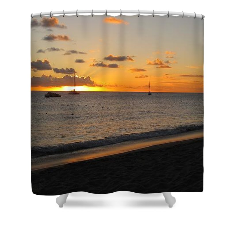 Sunset Shower Curtain featuring the photograph Soft Warm Quiet Sunset by Ian MacDonald