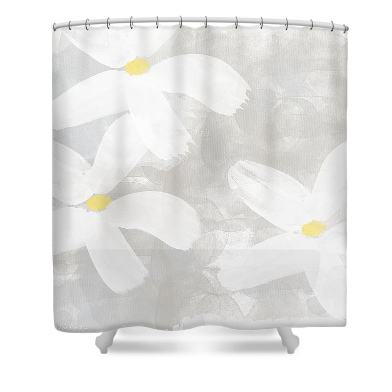Flowers Shower Curtain featuring the painting Soft White Flowers by Linda Woods