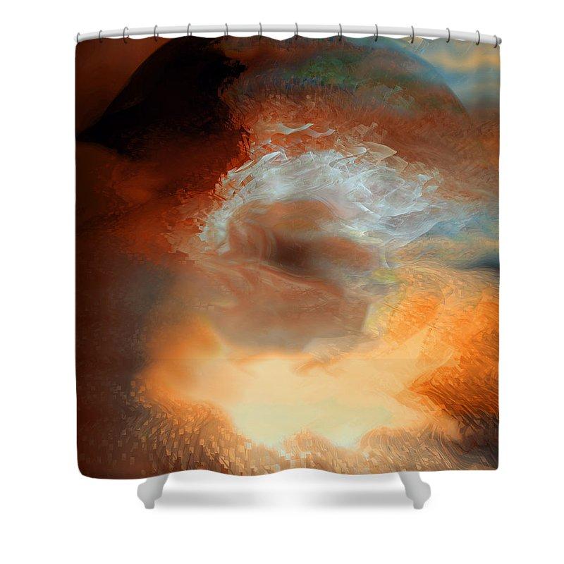 Solar Eruption Shower Curtain featuring the digital art Solar Eruption by Linda Sannuti