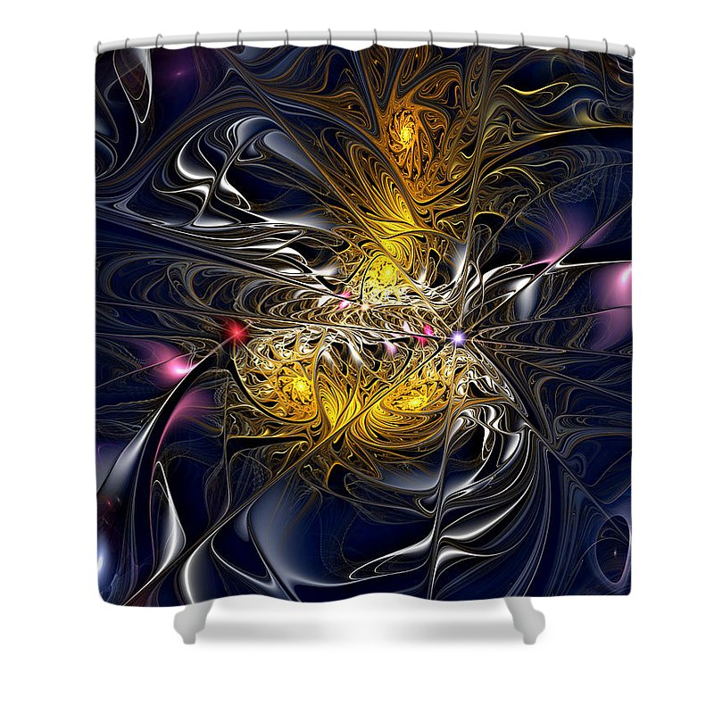 Abstract Shower Curtain featuring the digital art Solar Winds by Casey Kotas