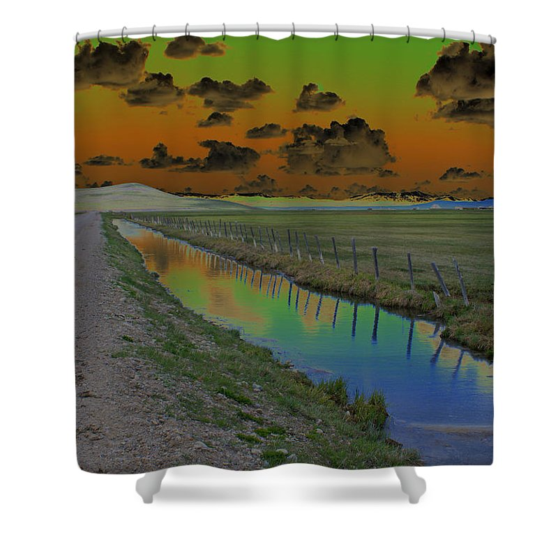 Mountains. Solarized Shower Curtain featuring the photograph Solarized Sky by Heather Coen