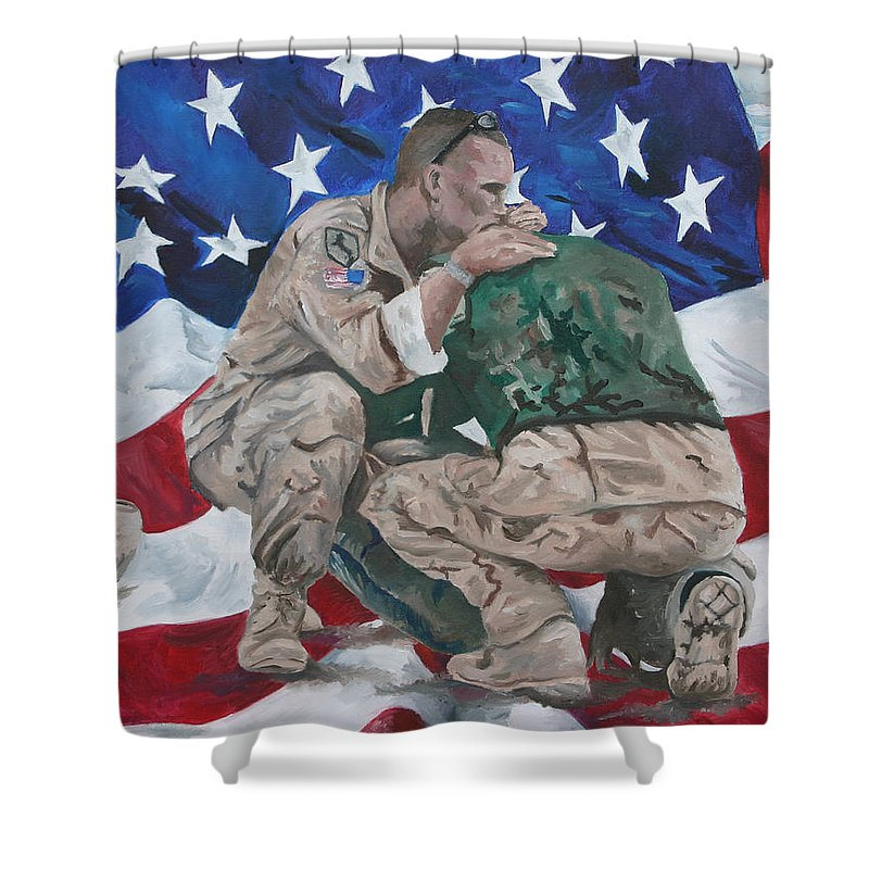 Soldiers Shower Curtain featuring the painting Soldiers by Travis Day