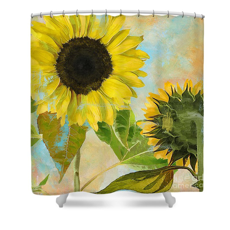Sunflower Shower Curtain Featuring The Painting Soleil I By Mindy Sommers