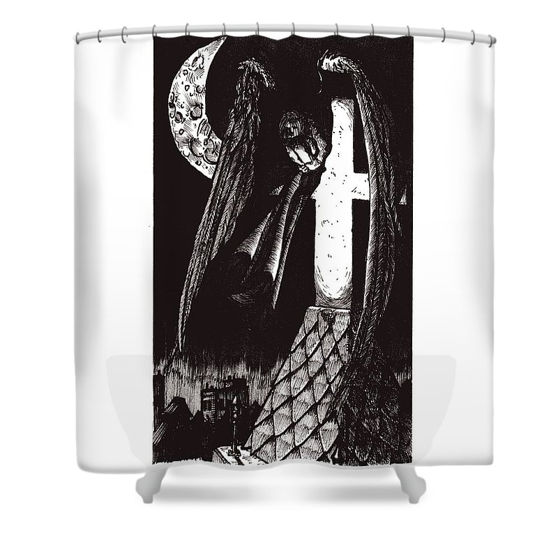 Angel Shower Curtain featuring the drawing Solemn Vigil by Tobey Anderson