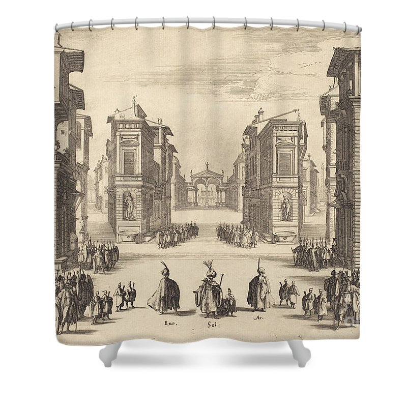 Shower Curtain featuring the drawing Solimano, Act I by Jacques Callot
