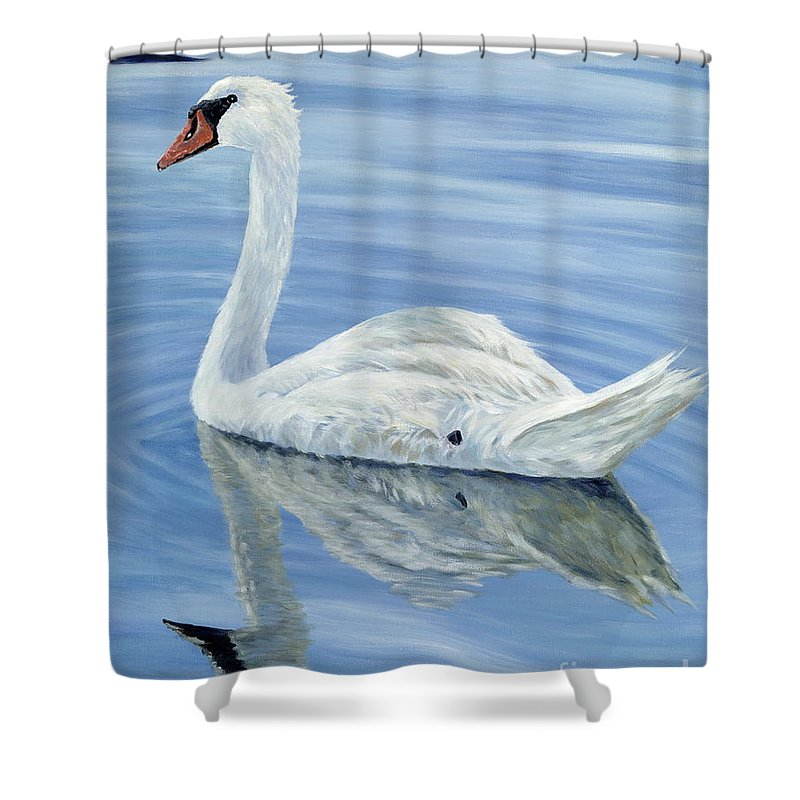 Swan Shower Curtain featuring the painting Solitary Swan by Danielle Perry