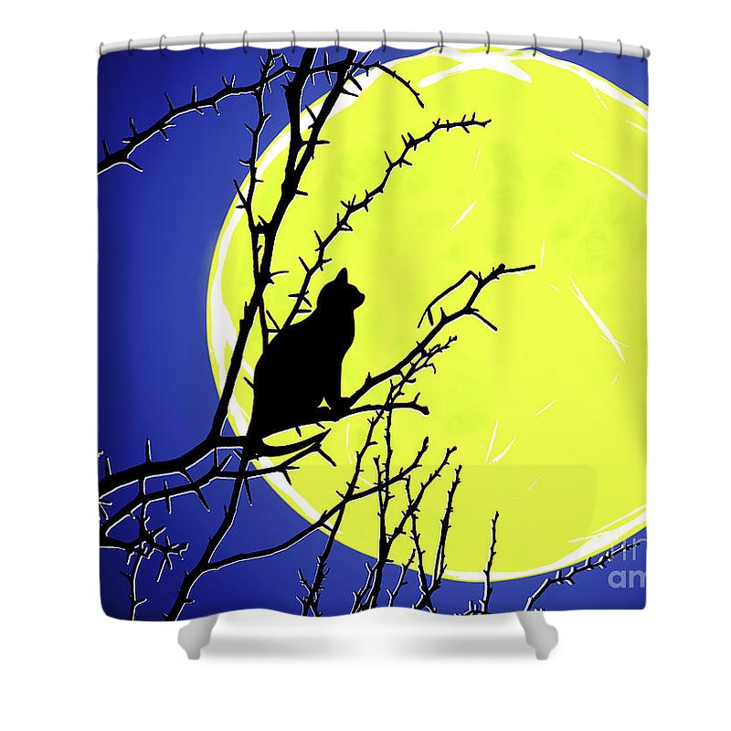 Solitary Shower Curtain featuring the painting Solitary With Golden Moon by Methune Hively